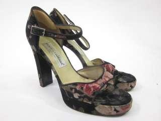 DOLCE & GABBANA Black Floral Velvet Pumps Sz 39.5 9.5