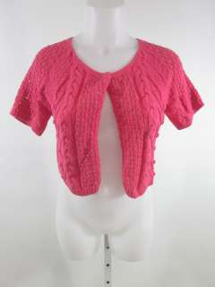 AUDREY & GRACE Pink Short Sleeve Cable Sweater Sz P