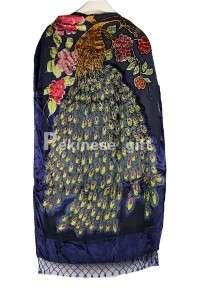 New Hand Beaded 100% Silk Velvet Shawl Scarf Wrap Peacock Peony