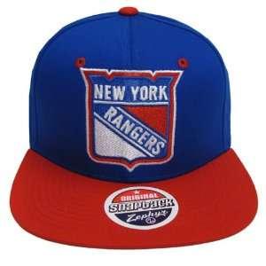 New York Rangers Logo Zephyr Snapback Cap Hat Blue Red