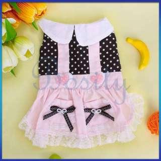 Pet Dog Dress Skirt Clothing Clothes Apparel Pink 4Size
