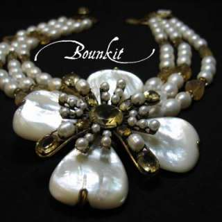 Multi Strand Pearls & Citrines Necklace set by BOUNKIT