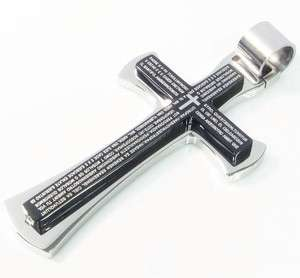Stainless Steel Plain Black Silver Cross Pendant 1Fq