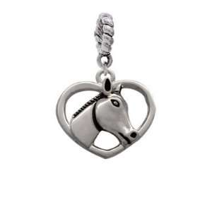 Heart with Horse Head Charm Dangle Pendant Arts, Crafts