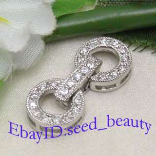 White Gold Plated Crystal Inlayed Clasp gp0389