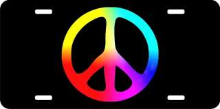 Tie Dye Peace Sign Symbol License Plate