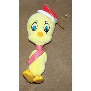 Vintage Flocked Looney Tunes Tweety Bird Ornament