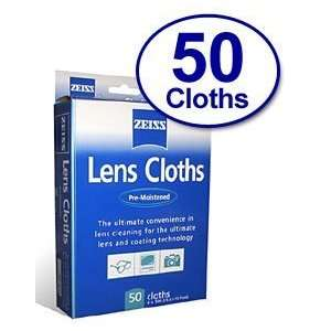 50 Ct   Zeiss Pre Moistened Lens Cleaning Cloths for