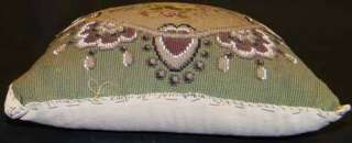 ANTIQUE FLORAL PETIT POINT W GLASS BEADS PILLOW COVER
