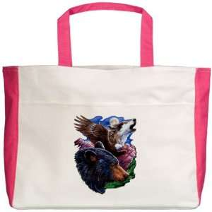 Beach Tote Fuchsia Bear Bald Eagle and Wolf: Everything Else
