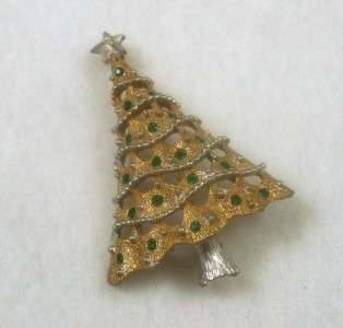 Vintage Green Rhinestone Christmas Tree Pin Brooch Gold & Silver Tone