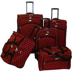 American Flyer Madrid Red 5 piece Spinner Luggage Set