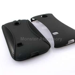 Black Dual Flex Hard Case Gel Cover For Huawei Ascend 2