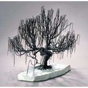Wire Bonsai Tree Sculpture   Weeping Willow Style