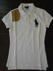 RALPH LAUREN Women XS NWT $125 BIG PONY Sport Polo Shirt Top w Suede