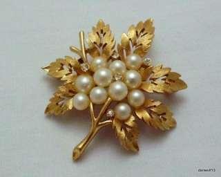 Trifari Rhinestone Faux Pearl Leaf Brooch Jewelry Designer Signed