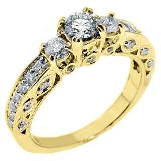 STONE PAST PRESENT FUTURE DIAMOND RING ROUND CUT YELLOW GOLD