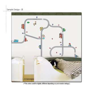 CARS & ROADWAY Removable Wall Decals Stickers For Kids