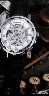 Mechanical Skeleton Hollow Mens Wrist Watch Roman Black Leather White