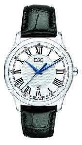 ESQ by Movado Mens White Dial Black Leather Strap Watch 07301367