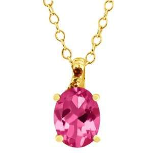 1.61 Ct Oval Pink Mystic Topaz and Cognac Red Diamond 18k