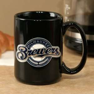 Milwaukee Brewers Black 15oz. Pewter Logo Ceramic Mug