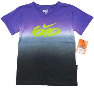 NIKE 6.0 Purple & Gray V neck Tee Shirt Boys 6 NWT $26