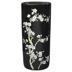 18 Flower Blossom Umbrella Stand in Shiny Black