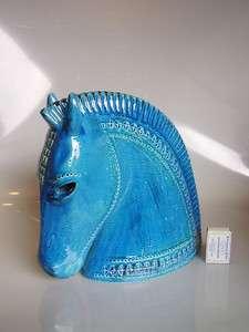 Large Rimini Blue horse head, Aldo Londi for Bitossi, Italy