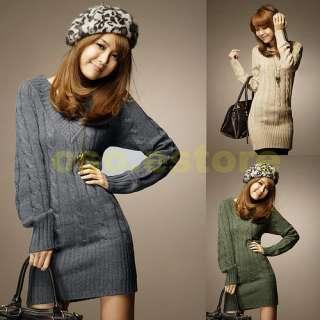 Long Sleeve Lantern Sleeve Sweater Long Tops Mini Dress #D6806