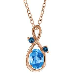 0.86 Ct Oval Swiss Blue Topaz and Blue Diamond 14k Rose