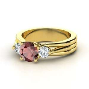 Three Part Harmony Ring, Round Red Garnet 14K Yellow Gold