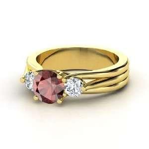 Three Part Harmony Ring, Round Red Garnet 14K Yellow Gold