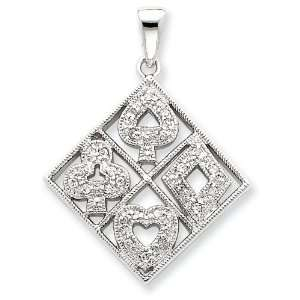 Sterling Silver Playing Cards CZ Pendant Jewelry