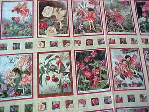 Blossom Flower Fairies Quilt Fabric Panel Rose Pink Cherry Red Cicely