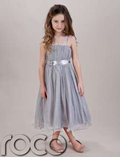 Girls Silver Hoop Dress Bridesmaid Prom Wedding Flower Girls Dresses 1