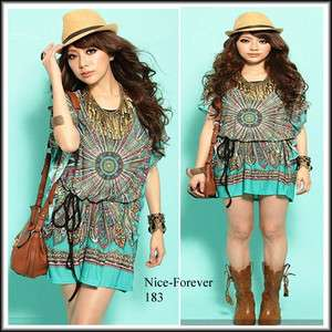 HOT summer loose cosy green mini T shirt DRESS N183 SIZE XL