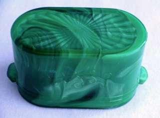 Signed McKee green/white slag glass pin dish