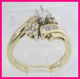 14k Yellow Gold Marquise, Round & Baguette Cut Diamond Wedding Ring