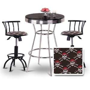 Chrome Bar Table & 2 Black Adjustable 24 29 Pirate Skull