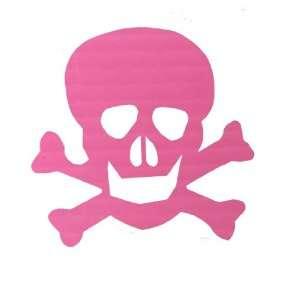 Skull and Crossbones Pink Vinyl Window Decal Automotive