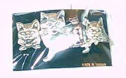 Cat Fashion Brooch, 4 Tri Colored Kitties, NEW