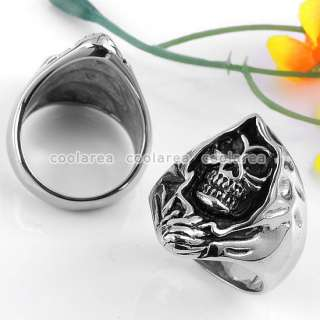 Punk Gothic Stainless Steel Black Evil Skull Ring Size11 Retro Jewelry