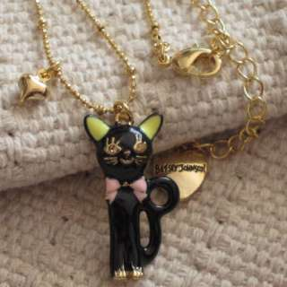 Pendant Necklace Gift FS Gold Tone Rhinestone Enamel Cat