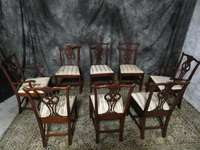AMAZING MAHOGANY HICKORY CHAIR CHIPPENDALE DINING ROOM CHAIRS 8 WOW