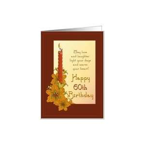 Happy 60th Birthday Tiger Lily Red Candle Card: Toys & Games