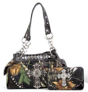 Western Camouflage Camo Cross Purse Handbag w Wallet