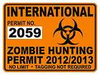 International Zombie Hunting Permit Decal / Sticker Window Bumper