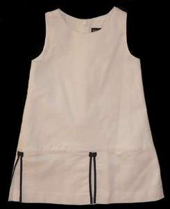 Ralph Lauren Baby girl White Pique Dress Sundress Sun Navy bow 18 m