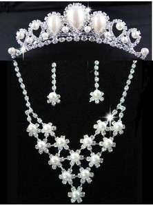 Bridal Wedding Jewelry Ivory Faux Pearl Elegant Tiara Earring Necklace